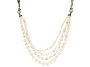 Pre-Owned Cultured Freshwater Pearl And Cubic Zirconia Suede And Rhodium Over Sterling Silver Neckla