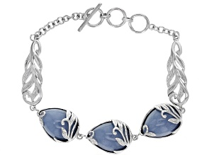 Pre-Owned Blue angelite rhodium over sterling silver toggle bracelet