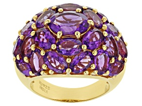 Pre-Owned Oval Purple Amethyst 14k Yellow Gold Over Sterling Silver Ring 9.29ctw