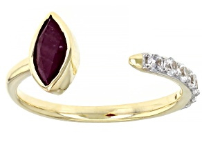 Pre-Owned Red Ruby 10k Yellow Gold Ring 1.12ctw