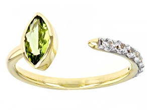 Pre-Owned Green Peridot 10k Yellow Gold Ring 0.84ctw