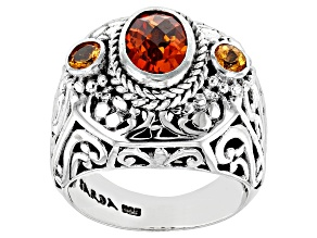 Pre-Owned Lab Created Padparadscha Sapphire and Garnet Silver Ring 2.47ctw