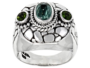 Pre-Owned Mint Kyanite and Chrome Diopside Silver Ring 1.10ctw