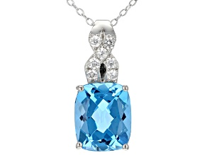 Pre-Owned Swiss Blue Topaz Sterling Silver Pendant With Chain 6.50ctw