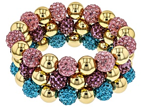 Pre-Owned Gold Tone Multicolor Crystal Set of 3 Stretch Bracelets