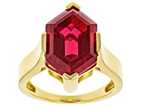 Pre-Owned Red Lab Created Ruby 18K Yellow Gold Over Sterling Silver Solitaire Ring 7.65ct
