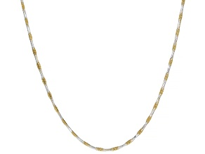 Pre-Owned Sterling Silver & 18K Yellow Gold Over Silver Diamond Cut Square Snake Chain Necklace 20 I