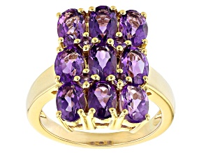 Pre-Owned Purple Amethyst 18K Yellow Gold Over Sterling Silver Ring 3.34ctw