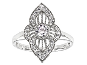 Pre-Owned White Cubic Zirconia Rhodium Over Sterling Silver Ring 0.95ctw