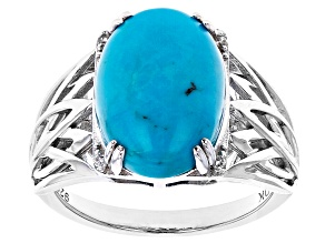 Pre-Owned Blue Turquoise Rhodium Over Sterling Silver Ring .02ctw