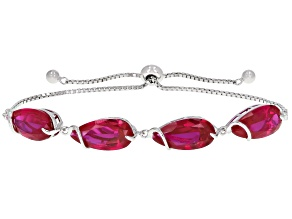 Pre-Owned Red Lab Created Ruby Rhodium Over Sterling Silver Bolo Bracelet 13.60ctw
