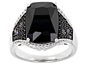 Pre-Owned Black Spinel Rhodium Over Sterling Silver Ring. 7.83ctw