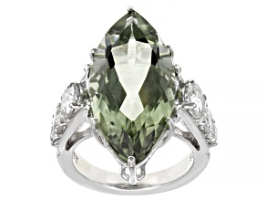 Pre-Owned Prasiolite Rhodium Over Sterling Silver Ring 11.50ctw