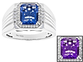 Pre-Owned Blue Color Change Fluorite Rhodium Over Sterling Silver Mens Ring 3.57ctw