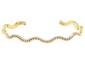 Picture of Pre-Owned White Diamond 14k Yellow Gold Over Sterling Silver Cuff Bracelet 0.10ctw