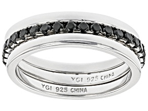 Pre-Owned Black Spinel Rhodium Over Silver Ring 0.88ctw