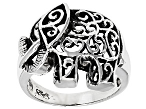 Pre-Owned Sterling Silver Oxidized Elephant Ring