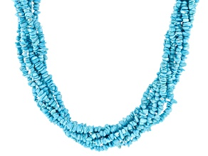 Pre-Owned Blue Sleeping Beauty Turquoise Sterling Silver Necklace