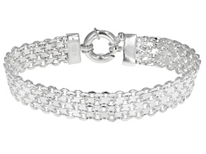Pre-Owned Sterling Silver 10MM Bismark Link Bracelet
