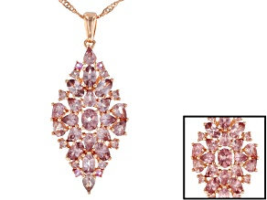 Pre-Owned Pink color shift garnet 18k rose gold over silver pendant with chain 5.05ctw