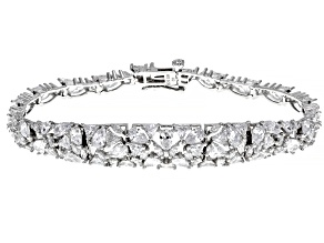 Pre-Owned White Cubic Zirconia Rhodium Over Sterling Silver Tennis Bracelet 25.67ctw