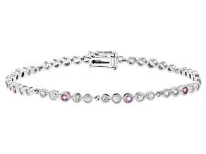 Pre-Owned Pink Ceylon Sapphire Rhodium Over Sterling Silver Bracelet 2.39ctw