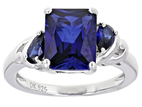 Pre-Owned Blue Lab Created Sapphire Rhodium Over Sterling Silver Ring 3.01ctw