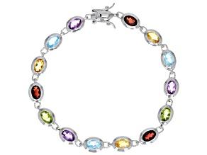 Pre-Owned Multi-Color Gemstone Rhodium Over Silver Tennis Bracelet 10.25ctw.