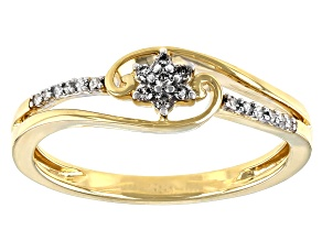 Pre-Owned White Diamond 10k Yellow Gold Bypass Promise Ring 0.10ctw