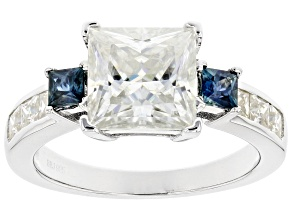 Pre-Owned Moissanite And Blue Sapphire Platineve Ring 3.40ctw DEW.