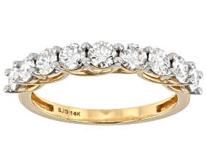 Pre-Owned Moissanite 14k Yellow Gold Ring 1.17ctw DEW.