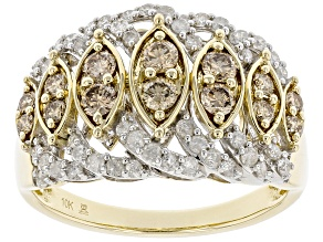 Pre-Owned Champagne And White Diamond 10k Yellow Gold Wide Band Ring 1.00ctw