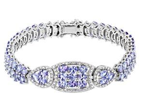 Pre-Owned Blue Tanzanite Rhodium Over Silver Bracelet 12.07ctw