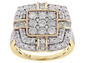 Pre-Owned White Diamond 10k Yellow Gold Cluster Ring 2.00ctw