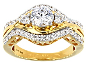 Pre-Owned White Cubic Zirconia 18K Yellow Gold Over Sterling Silver Ring 2.35ctw