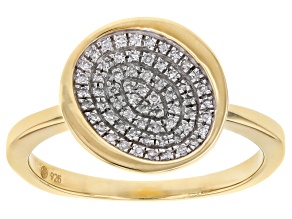 Pre-Owned White Diamond 14k Yellow Gold Over Sterling Silver Cluster Ring 0.10ctw
