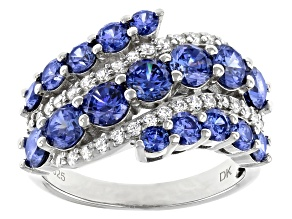 Pre-Owned Blue And White Cubic Zirconia Rhodium Over Sterling Silver Ring 4.95ctw