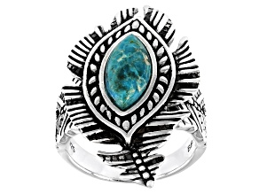Pre-Owned  Turquoise Rhodium Over Sterling Silver Feather Ring