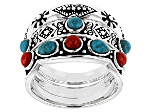 Pre-Owned Blue Turquoise and Sponge Coral Sterling Silver Set of 3 Rings