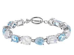 Pre-Owned Multi-Color Multi-gemstones Rhodium Over Sterling Silver Tennis Bracelet 7.16ctw