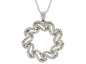Pre-Owned White Diamond Rhodium Over Sterling Silver Pendant With Chain 0.60ctw