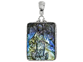 Pre-Owned Carved Labradorite Doublet Sterling Silver Angel Pendant