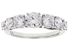 Pre-Owned White Cubic Zirconia Rhodium Over Sterling Silver Ring 3.85ctw