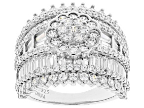 Pre-Owned White Cubic Zirconia Rhodium Over Sterling Silver Ring 7.11ctw