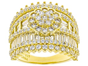 Pre-Owned White Cubic Zirconia 18K Yellow Gold Over Sterling Silver Ring 7.11ctw