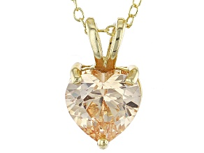 """Pre-Owned 2.90ct Cubic Zirconia 18k Yellow Gold Over Sterling Silver Pendant With 18"""" Chain"""