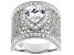 Pre-Owned White Cubic Zirconia Rhodium Over Sterling Silver Heart Ring 4.10ctw