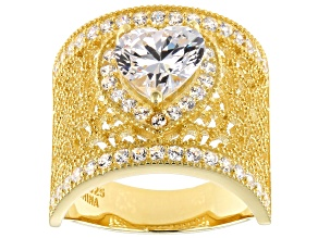 Pre-Owned White Cubic Zirconia 18K Yellow Gold Over Sterling Silver Heart Ring 4.10ctw