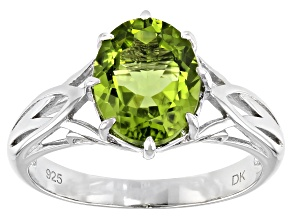 Pre-Owned Green Peridot Rhodium Over Sterling Silver Solitaire Ring 2.47ct