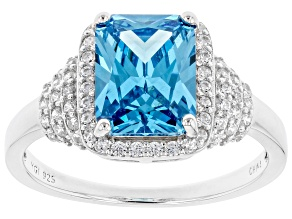 Pre-Owned Blue And White Cubic Zirconia Rhodium Over Sterling Silver Ring 5.07ctw